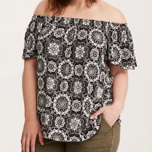Torrid Medallion Print Off-Shoulder Blouse